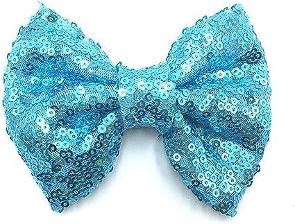 """Back to light blue gingham /& glitter 4/"""" Hair Bow bobble"""