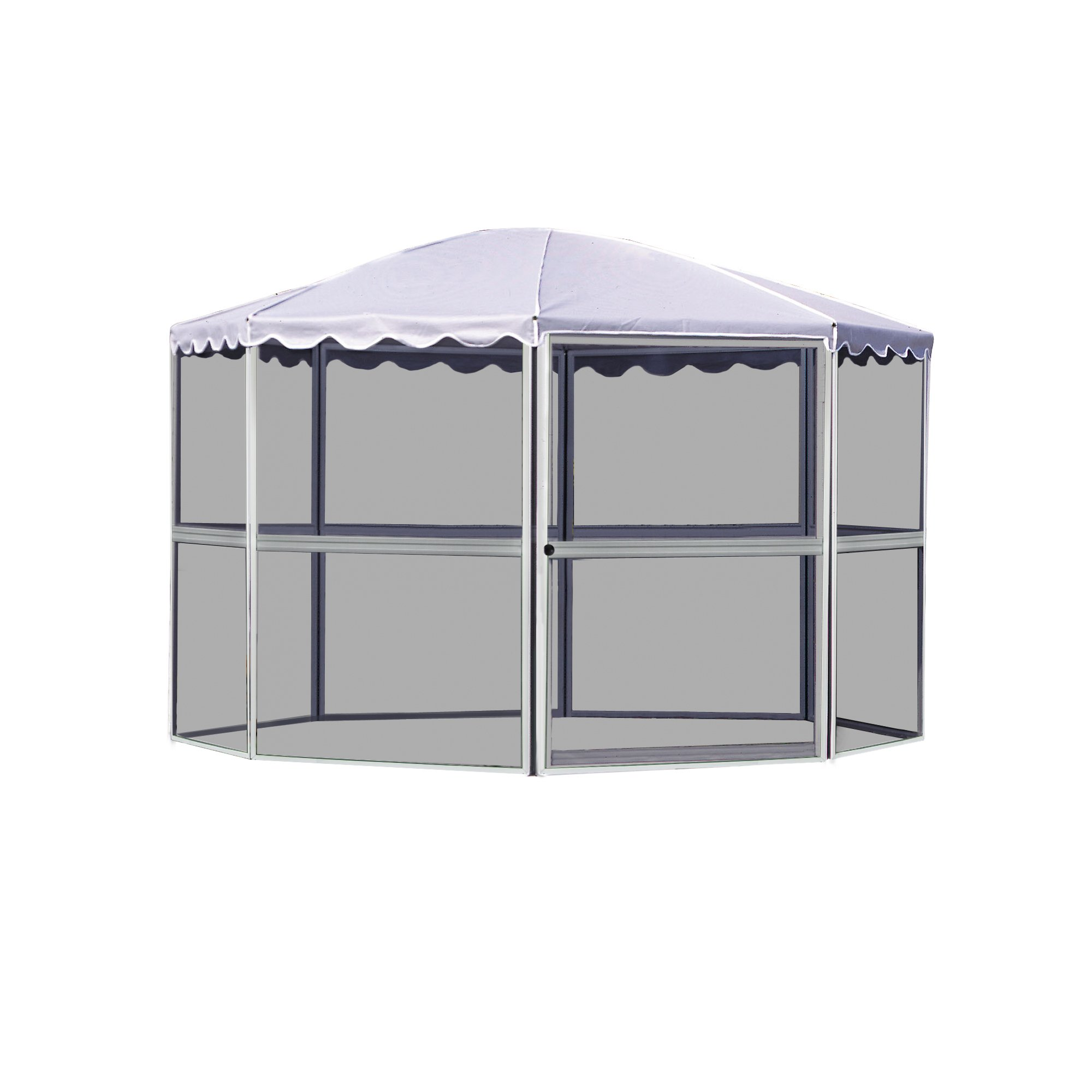 Casita 8-Panel Round Screenhouse 83222, White with Gray Roof