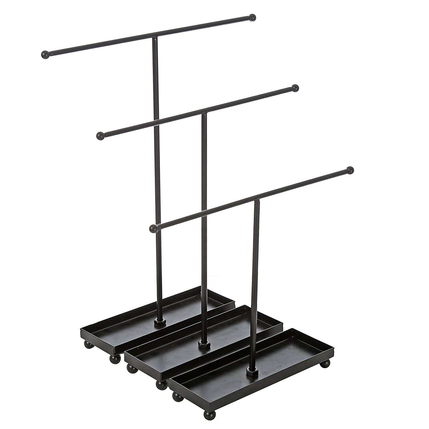 T-Bar Necklace Hangers MyGift Jewelry Rack with Ring Dish Black Set of 3