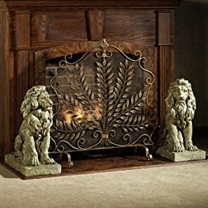 JLXJ Single Panel Iron Fireplace Screen, for Home Baby Pet Safety Fence, Antique Metal Free Standing Spark Guard
