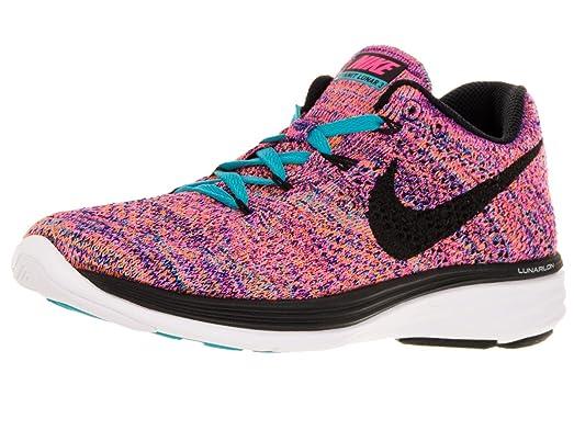 Nike Womens Flyknit Lunar3 Concord/Black/Gmm Bl/Ttl Orng Running Shoe 5