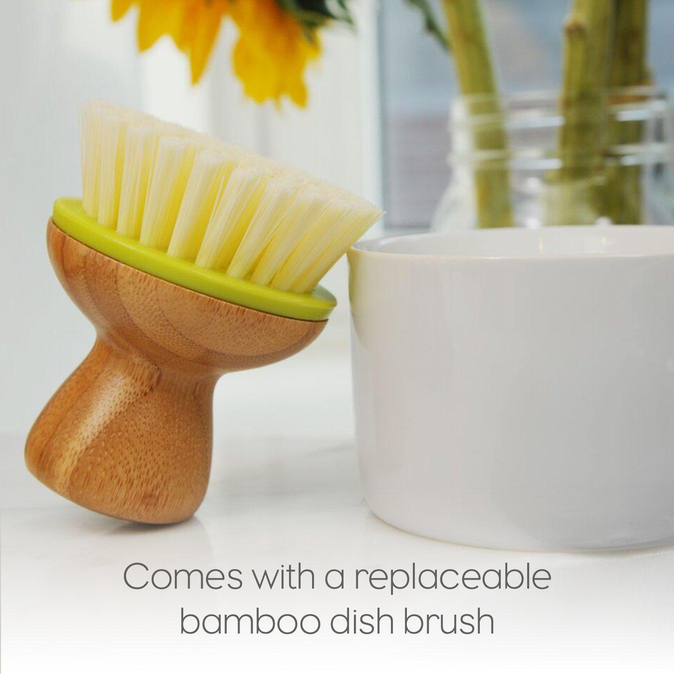 Full Circle Bubble Up Ceramic Soap Dispenser & Dish Brush w Bamboo Handle, Green/White by Full Circle (Image #6)