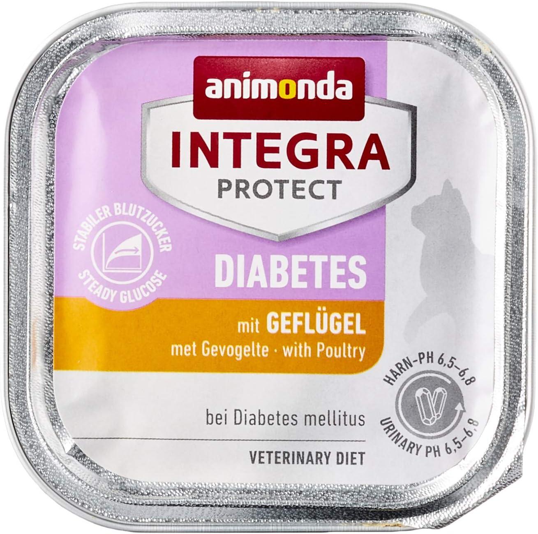 animonda Integra Protect Diabetes para gatos, comida dietética para gatos, comida húmeda para gatos con diabetes mellitus, con ave, 16 x 100 g