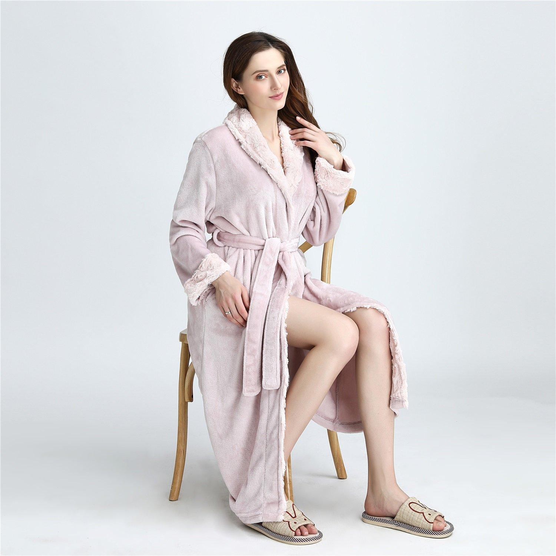 YAN Pijamas de Las señoras 2018 de la Franela de Lujo Nuevo Invierno Bata Bata de baño Muy Absorbente Mujeres Bata + Cinturones Bolsillos y mantón del ...