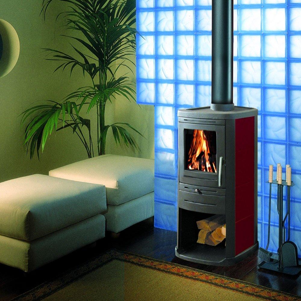 Estufa a leña 4,8 kW C/Pie Fundido Calefacción Casa 125 M3 ...