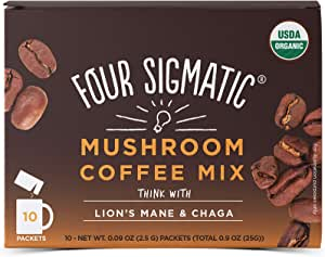 FOUR SIGMATIC Mushroom Coffee Mix Lion's Mane & Chaga (10 packets), 2.5 g