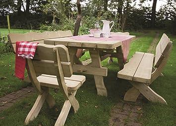 Rustikale Gartenmöbel gartenmöbel set farm 200 cm gartentisch 2 gartenstühle und 2