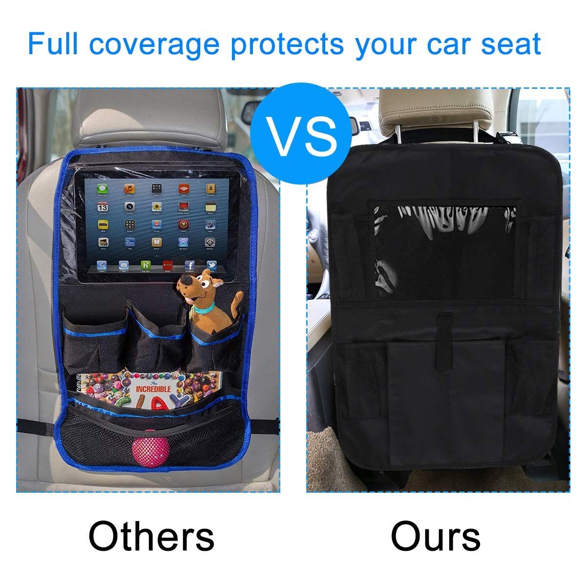 2 Pack LAurth Backseat Car Organizer with Touch Screen Tablet Holder Multi-Pockets Car Kick Mat for Kids Toys Drink Bottle Drink Vehicles Magazines Storage Seat Back Protectors