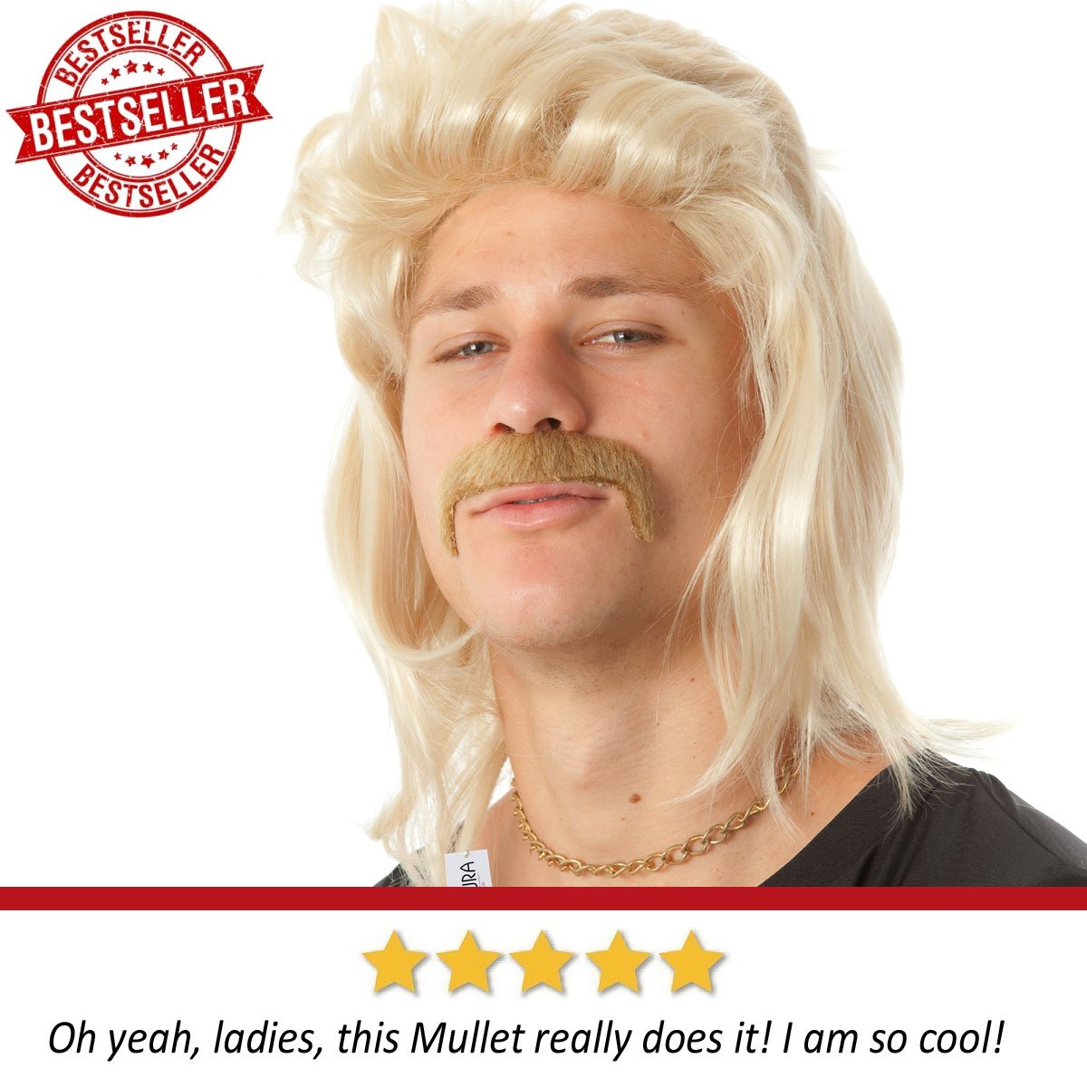 ALLAURA Blonde Mullet Wig Mustache - Hillbilly White Trash Redneck Costume 80s Mens by ALLAURA (Image #3)