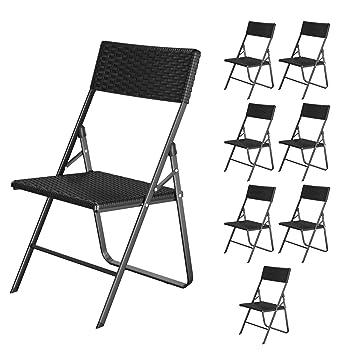 Songmics Lot De 8 Chaises Pliantes Chaise De Jardin Pliable Stable