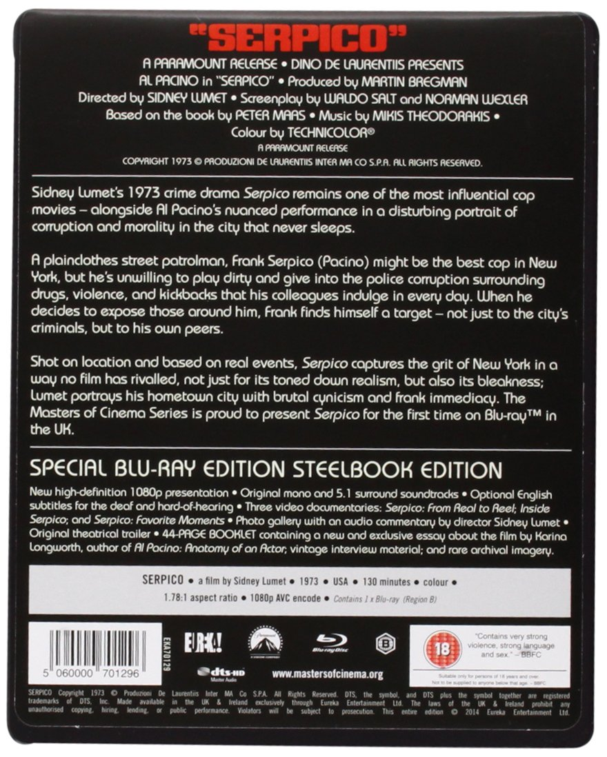 serpico masters of cinema blu ray steelbook amazon co uk al serpico masters of cinema blu ray steelbook amazon co uk al pacino sidney lumet dvd blu ray