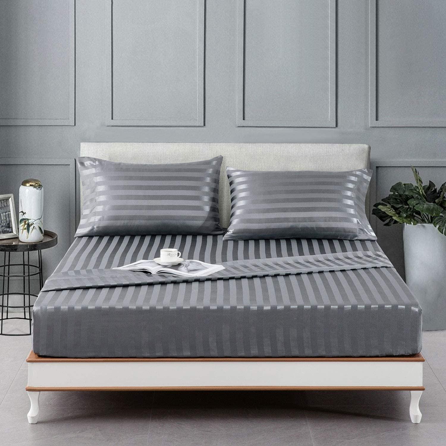 Lanest Housing Satin-Silk Sheets Twin Size Bed Set, Dark Grey Soft Cooling Deep Pocket Sheets, Hypoallergenic, Wrinkle and Fade Resistant Bedding Set, 3 Piece, Striped