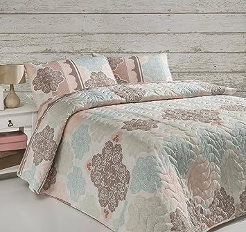 LaModaHome Luxus Weich Farbigen Schlafzimmer 65% Baumwolle 35% Polyester,  Gesteppt, (Gepolstert