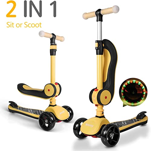 besrey Scooter Kids 3 Wheel Scooter Kick Scooters for 1-14 Years with Adjustable Seat and Handle for Toddler Child – Yellow Black red