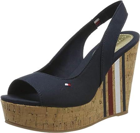 Tommy Hilfiger Sling Back Wedge Sandal Stripes, Sandalias con Plataforma para Mujer