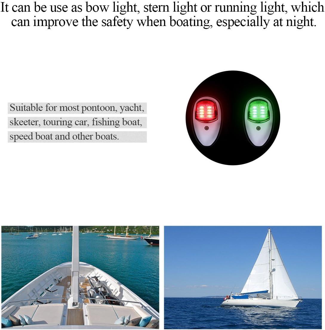 Houkiper 2 piezas de navegaci/ón del barco luz verde marino LED Starboard White luz del lado del puerto barco DC 12-24V