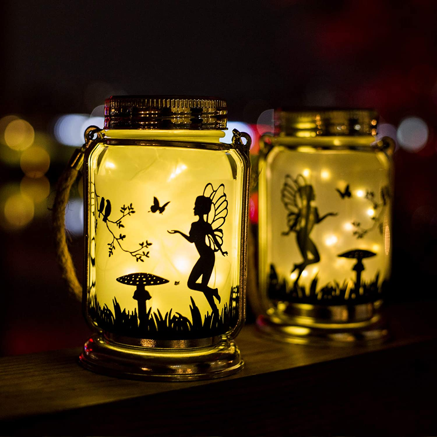 ANGMLN Solar Fairy Lantern Decor Night Light- 2 Pack Outdoor Fairies Decorations Gifts Hanging Lamp Frosted Glass Jar with Stake for Yard Garden Patio Lawn (Warm White)