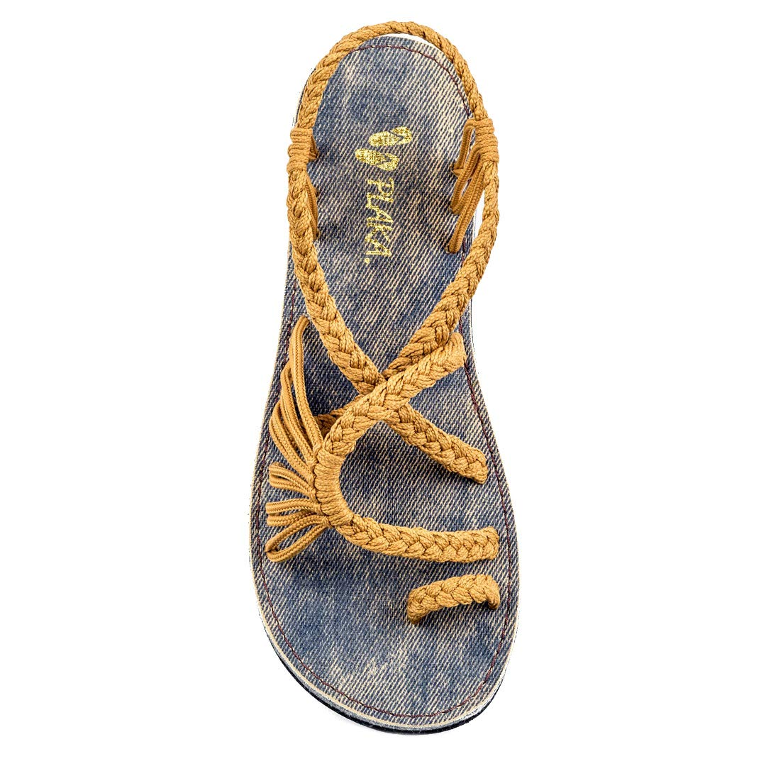 Sand-Yellow Jeans sole Plaka Summer Sandals for Women by