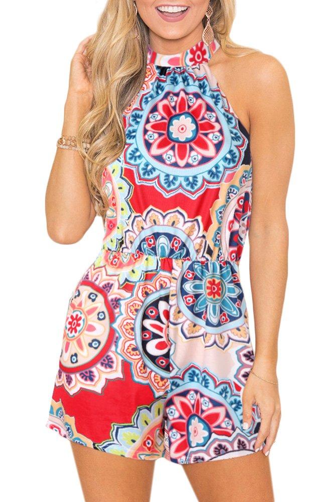 Spadehill Women Beach Floral Print Sleeveless Boho Playsuit Strap Casual Summer Cotton Cute Short Jumpsuit Romper Multi-Color M