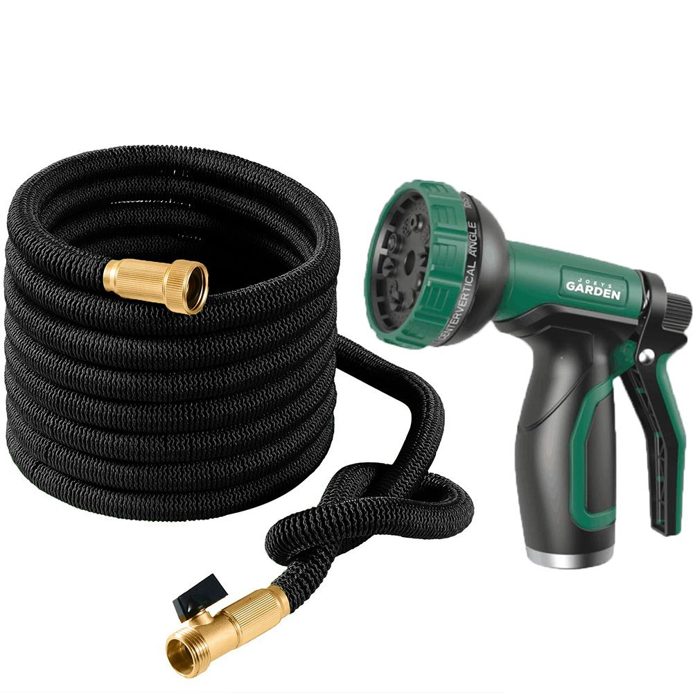 Joeys Garden Expandable Garden Hose Set, 25 Feet Heavy Duty Extra Strong Stretch Material with Brass Connectors - Bonus 10 Way Spray Nozzle