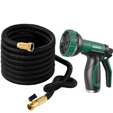 Joeys Garden Expandable Garden Hose Set, 50 Feet Heavy Duty Extra Strong Stretch Material with Brass Connectors - Bonus 10 Way Spray Nozzle