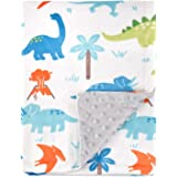 HOMRITAR Baby Blanket for Kids Super Soft Minky Blanket with Dotted Backing, Toddler Blanket with Dinosaurs Multicolor Printe