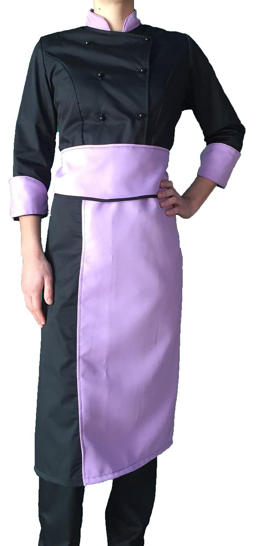 tessile astorino completo, divisa cuoco chef, Donna, nero e lilla (pantalone+giacca+davantino), Made in Italy
