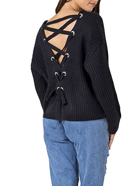 495216bb6e614 BerryGo Women's Sexy Criss Cross Lace Up V Back High Low Knitted Sweater