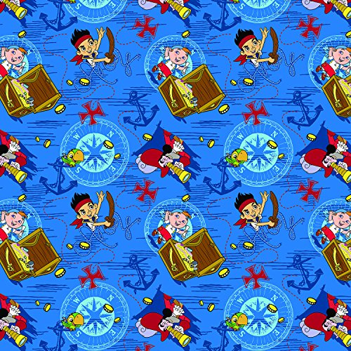 (Springs Creative Products Group Disney Jake Treasure Ahoy Toss Cotton Fabric, 43/44-Inch,)