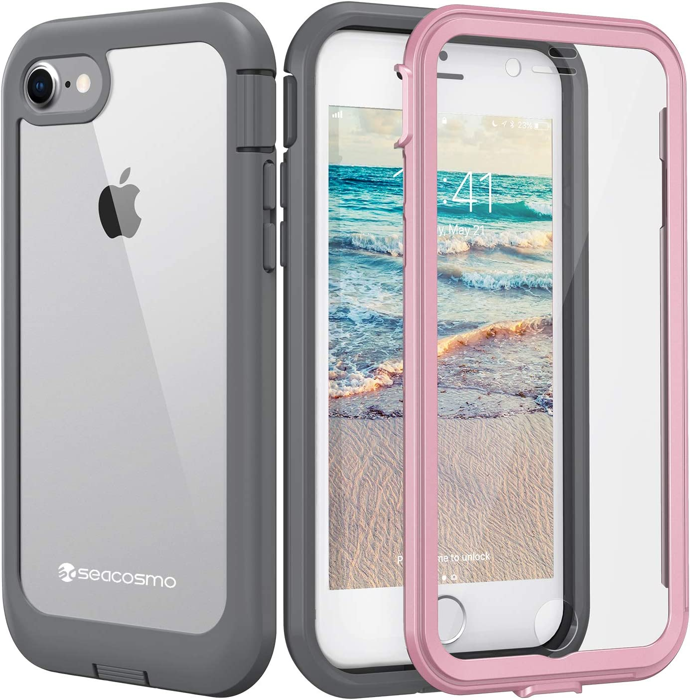 seacosmo iPhone SE 2020 Case, iPhone 7/8 Case, Dual Layer Clear Case with Built-in Screen Protector Full-Body Protective Bumper Case for iPhone SE 2020, iPhone 8/7-Clear/Pink