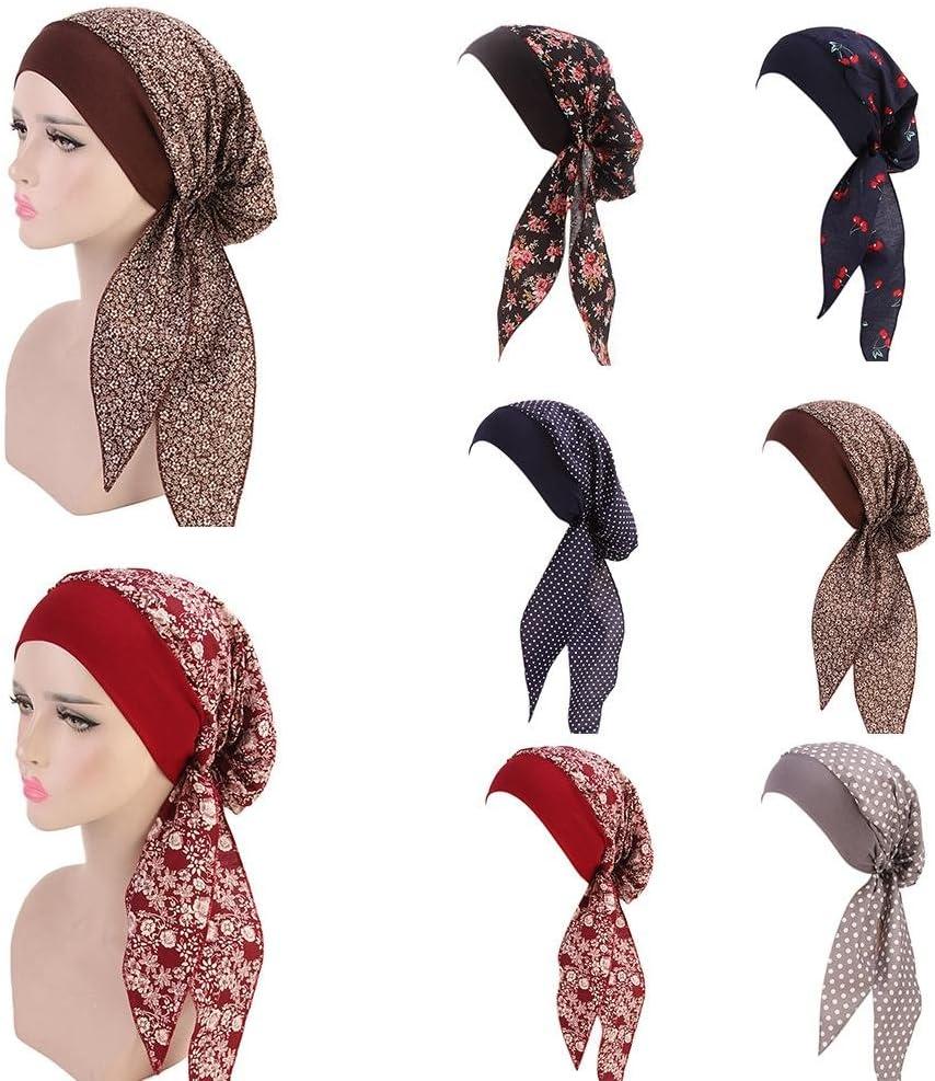 Qchomee Damen Kopftuch Wrap Kopfbedeckung Frau Bandana Hat Headwrap Schlaf M/ützen Elastic Turban Chiffon Drucken Long Tail Schals Headscarf Hut f/ür Haarausfall Make up Indien Muslim