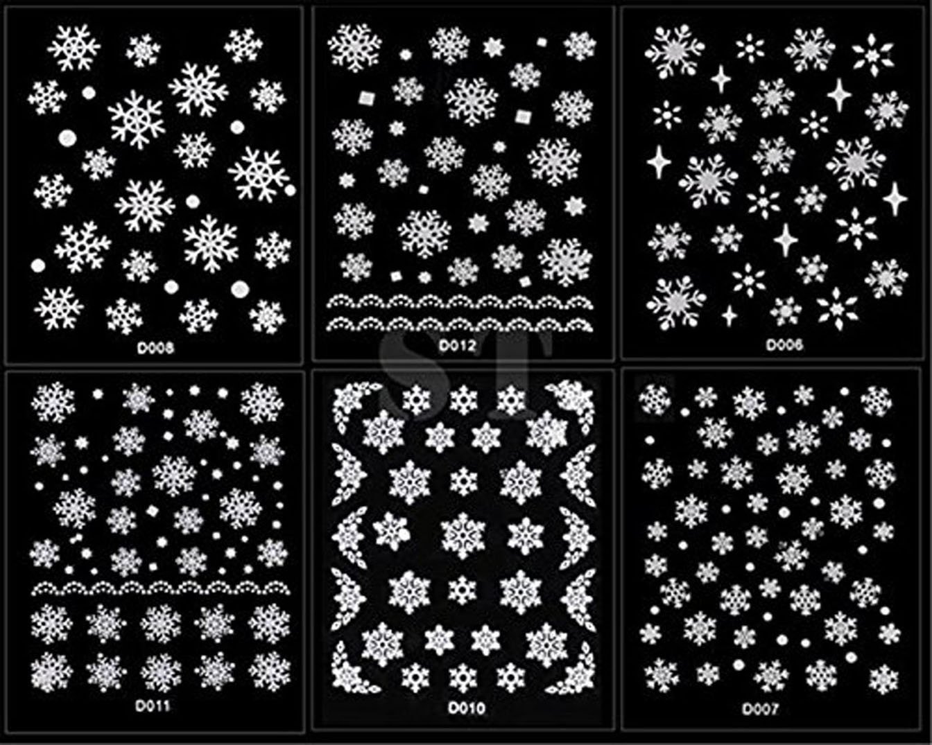 NiceButy 12 Sheet Christmas Snowflakes Design 3D Nail Art Stickers Decals