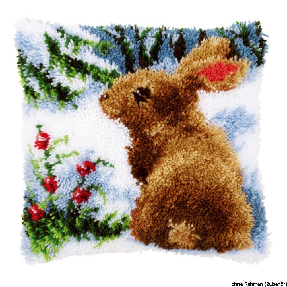 Latch Hook Cushion: Rabbit in the Snow Vervaco PN-0147712
