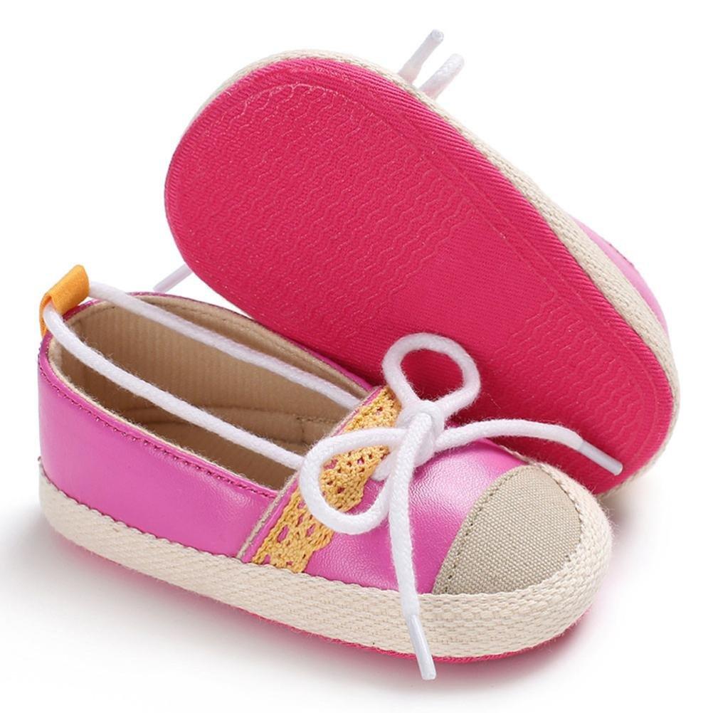 KONFA Toddler Newborn Baby Girls Decorative Shoelace Sneaker,for 0-18 Months,Cute Premium Crib Shoes