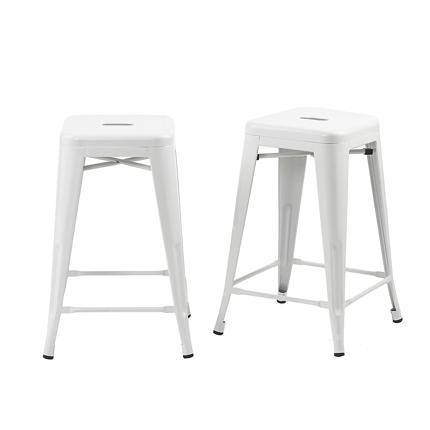 Buschman Set of 2 Matte White 24 Inch Counter Height Metal Bar Stools, Indoor Outdoor, Stackable
