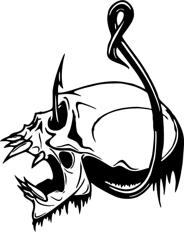 Skull Fish Hook Fishing Bone Boat Car Truck Window Vinyl Decal Sticker