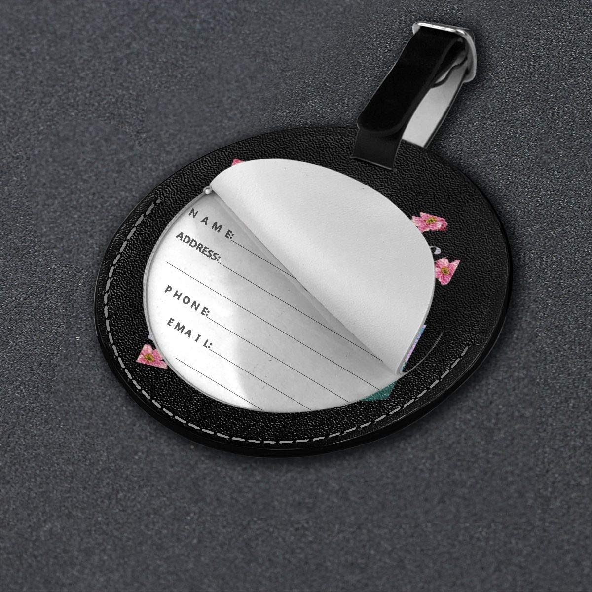 Melvins Travel Leather Round Luggage Tags Suitcase Labels Bag
