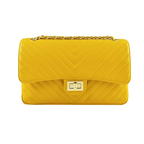 0fd0e104121 SINDY Italian quilted cross body shoulder clutch purse metal and leather  chain soft smooth chevron quilted