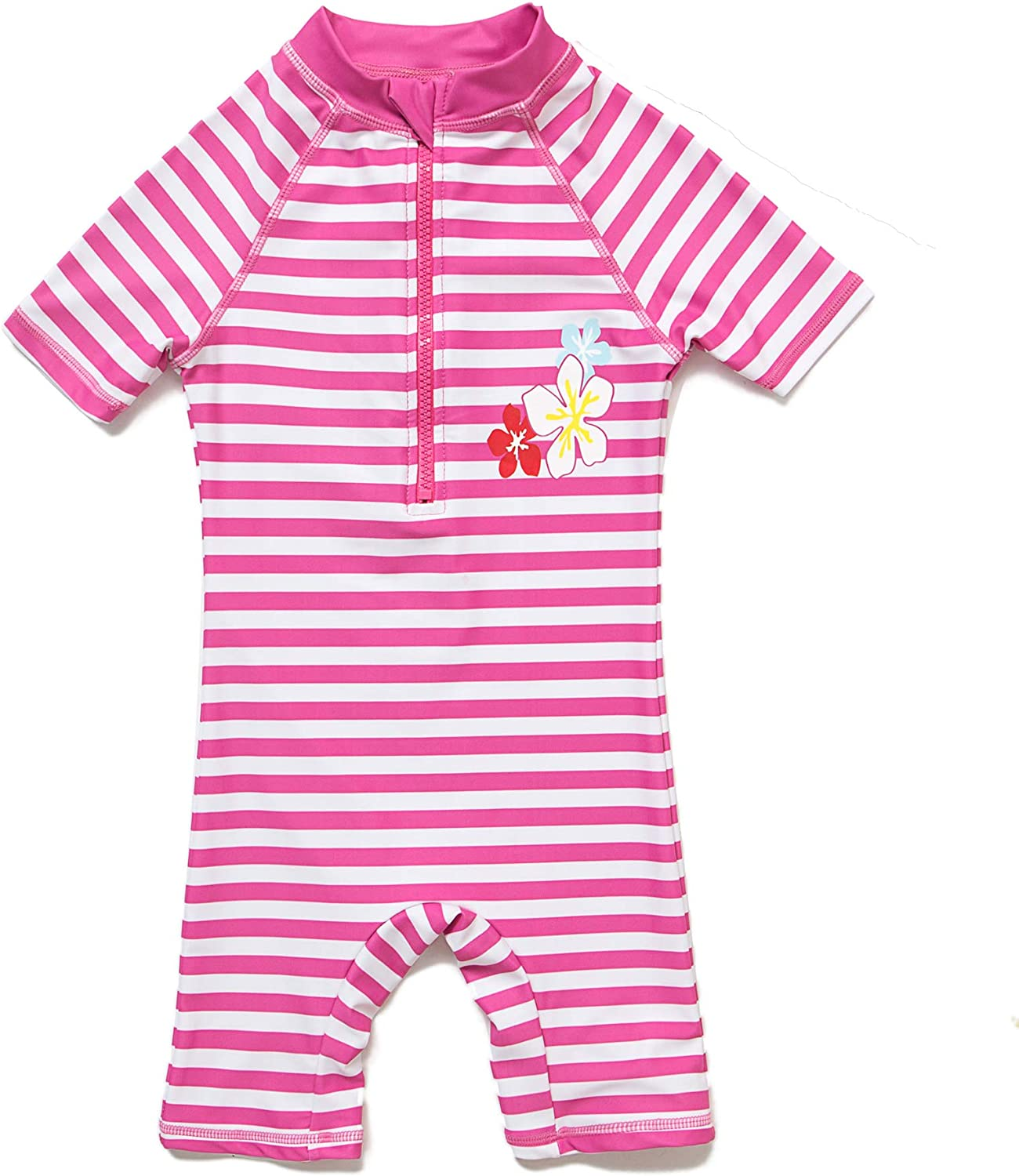 Baby Girls Sunsuit UPF 50+ Sun Protection One Pieces Short Sleeves Swimwear with Sun Hat(Pink Stripe,6 9Months)