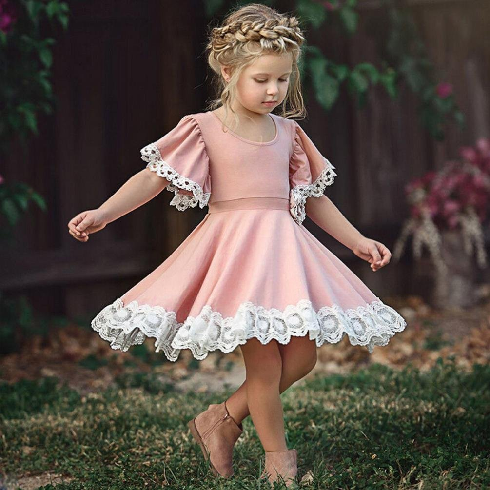 wuayi Kids Baby Girls Floral Lace Solid Short Sleeve Party Dress Clothes: Amazon.co.uk: Clothing