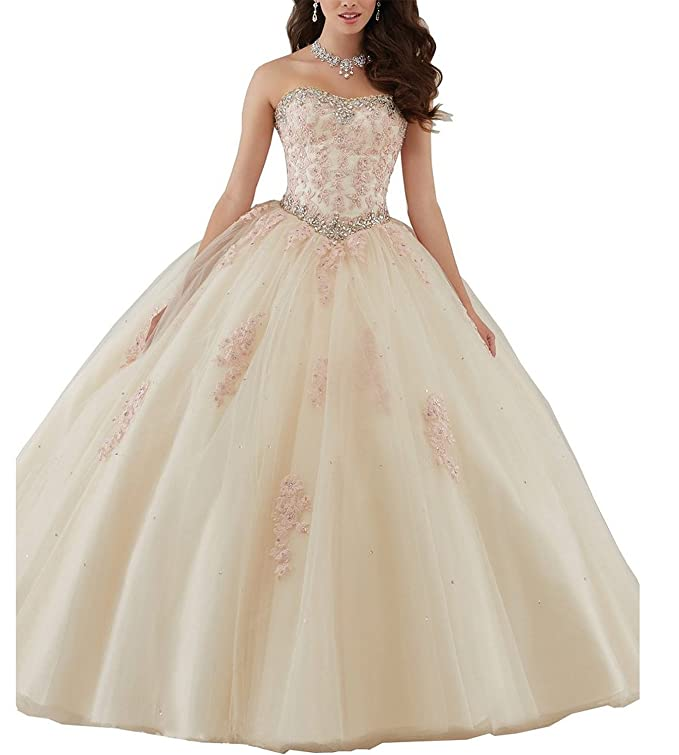 Amazon.com: Fanciest Women\'s Sweet 16 Ball Gowns Long Prom ...