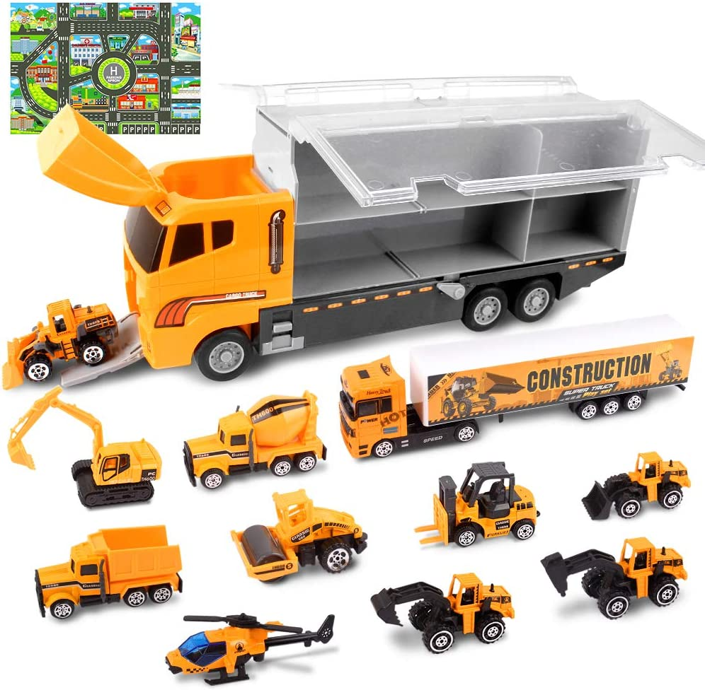 StillCool Kids Car Toys Set Transport Carrier Construction Truck Play Toy 11 Mini Assorted Vehicles with a Panoramic City Map for Boys Girls