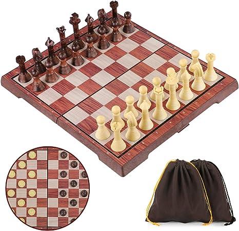 Kinder Reise Holz Schach Schachspiel Dame Schachbrett Backgammon Brett 31 x 31cm