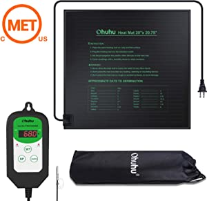 """Ohuhu 20""""x20.75"""" Plant Seedling Heat Mat & Digital Thermostat Controller Combo Set, MET Standard IP67 Waterproof Seed Starting Plant Heating Pad and 68-108℉ Temperature Controller for Indoor Seedling"""