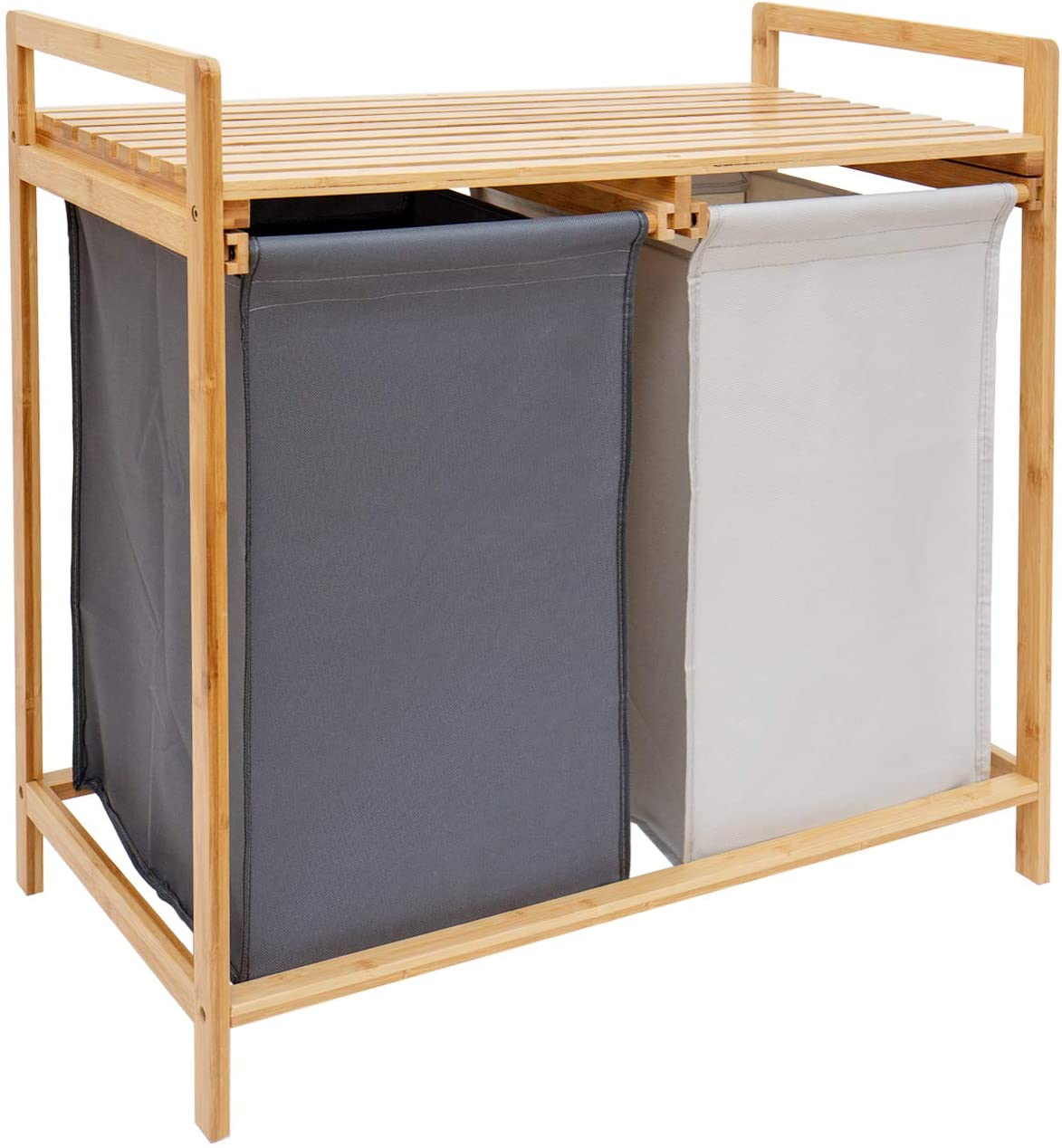 COMELLOW Bamboo Laundry Hamper and Shelf, 2 Sections Laundry Basket with Removable Liner, Dual Compartments Laundry Organizer and Storage, Wooden Laundry Sorter with Sliding Handles