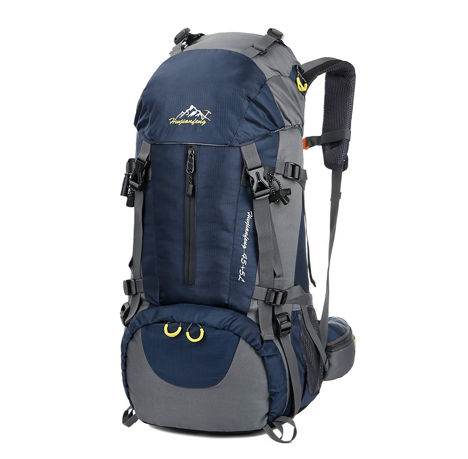 Esup Hiking Backpack, 50L Multipurpose Mountaineering Backpack with rain Cover 45l+5l Travel Camping Backpack, Suitable for Climbing Skiing Outdoor Sport, (Blue-50L)