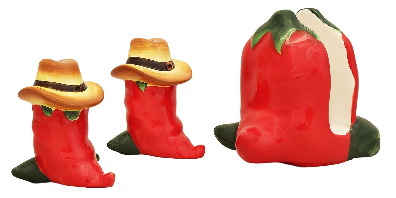 Salt /& Pepper Shaker ACK 86128 Napkin Holder 3-Piece WESTERN RED CHILI SET