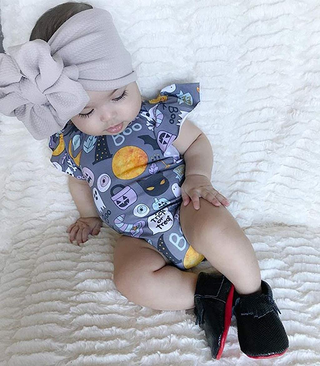Newborn Infant Baby Girl Halloween Print Costume Cute Party Tassels Romper Bodysuit Clothes Outfits