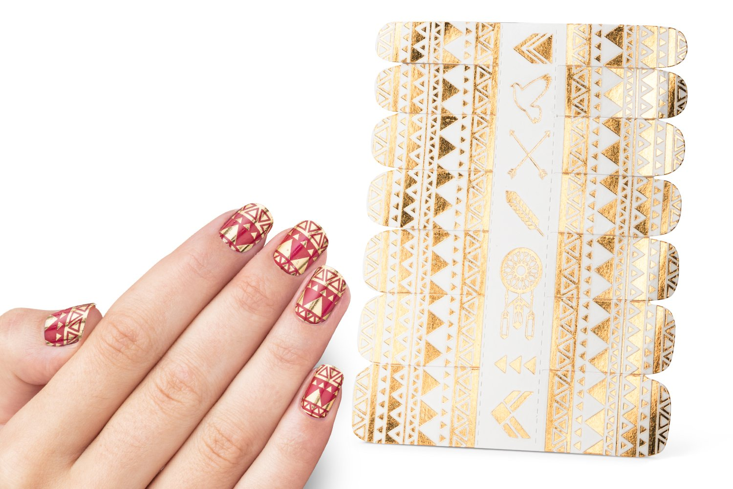 Nail Decals, Nail Tattoos Stickers, Water Nail Decals, Gold and Colorful Designs, Very easy to use for manicure. Each pakage consist Decals for 14 fingers. Brand MneTatu (Egypt)