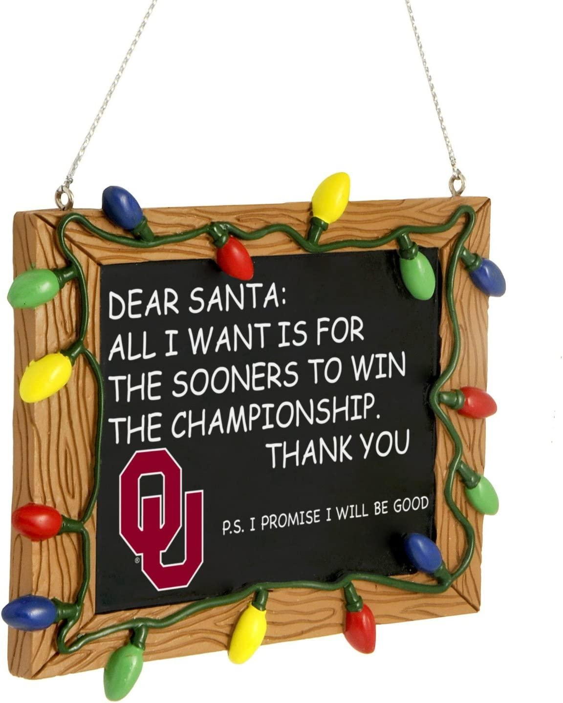Team Color FOCO NCAA Oklahoma Sooners College Team Logo Holiday Christmas Resin Chalkboard Ornament One Size